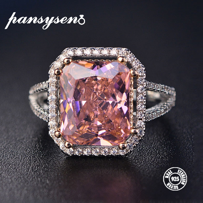 PANSYSEN 100% Sólida 925 Prata Jóias Anéis Para As Mulheres 10x12 milímetros Espinélio Rosa Diamante Fine Jewelry Nupcial Do Casamento anel de noivado