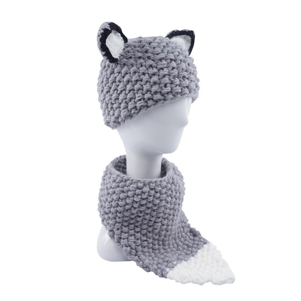 Детская шапка набор шейных платков мультфильм лиса уха стиль зима теплый вязаный костюм осень и повседневное от 3 до 8 лет лоскутное 0 25 кг