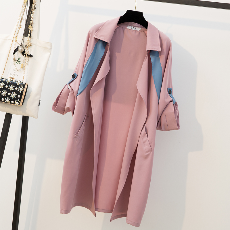 L-4XL Plus Size   Trench   Coat Women Clothes Spring 2019 Fashion Roll-up Long Sleeve Loose Casual Pink Cardigan Long Coat Femme