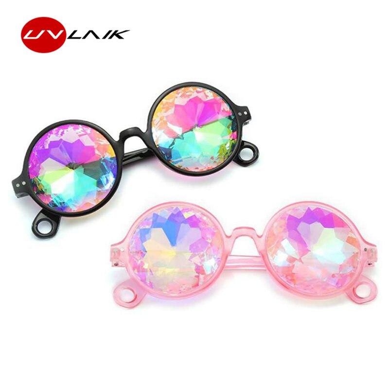 c3a0dd2be9 UVLAIK Round Kaleidoscope Glasses Women rave festival Diffracted Lens Sunglasses  Men Holographic EDM Celebrity Party Eyewear