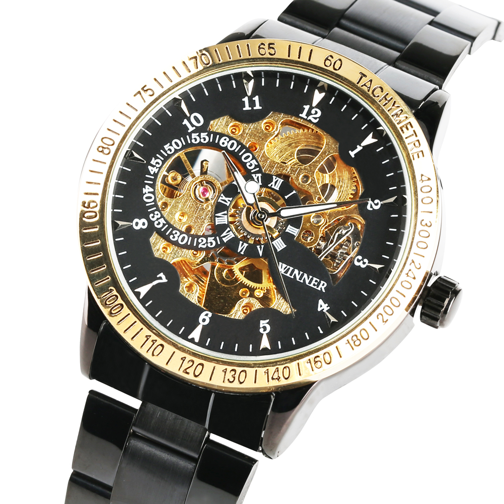 Automatic Mechanical Watch Exquisite Skeleton Daily Waterproof Watches Black Stainless Steel Case Watchband Relojes Hombre