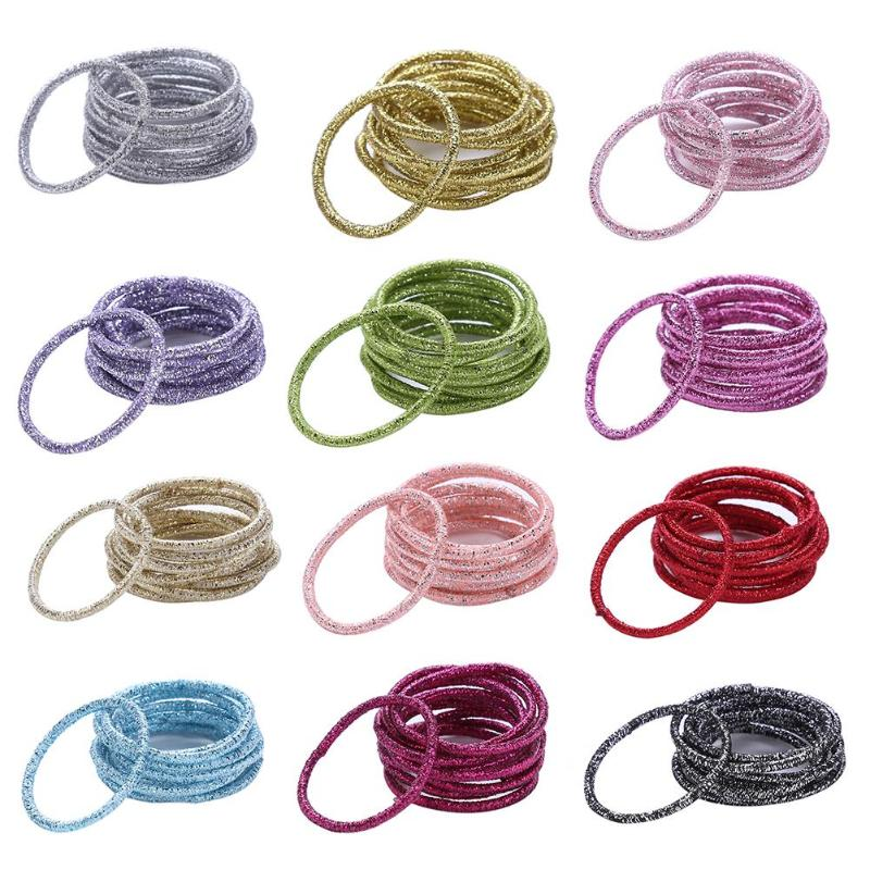 12 Colors 10Pcs/Card Fashion Candy Colors Rubber Bands Child Lady Headbands Elastics Hair Accessories For Girls Kids