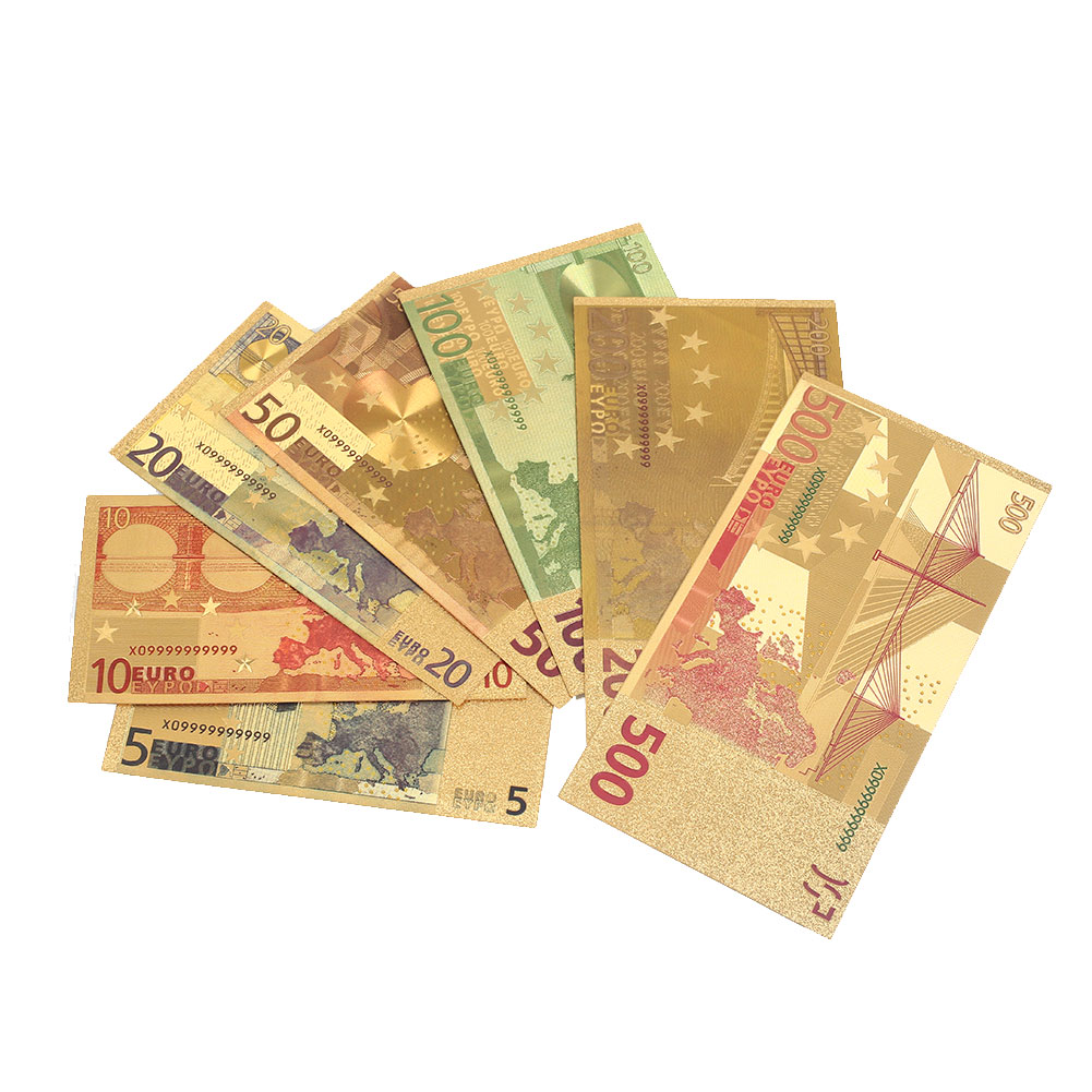 5 10 20 50 100 200 500 EUR 24K позолоченные европейские реалистичные банкноты коллекция памятных банкнот 7 шт. Золотой Сувенир