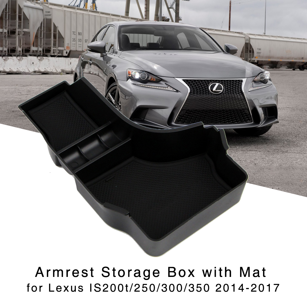 Armrest Storage Box for <font><b>2014</b></font> 2015 2016 2017 <font><b>Lexus</b></font> <font><b>IS</b></font> 200t <font><b>250</b></font> 300 350 300h Central Console Glove Holder Organizer Tray image
