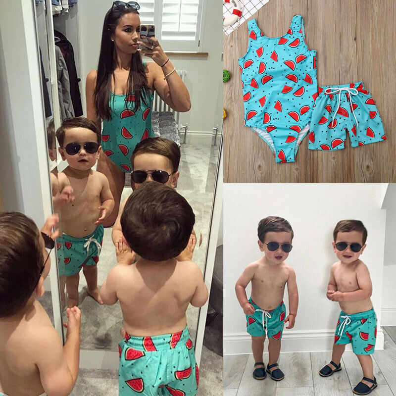 PUDCOCO 1PC Family Matching Women Kid Baby Boys Beach Shorts Trunks Watermelon Printed Swimwear Swimsuit Casual Bathing Suit