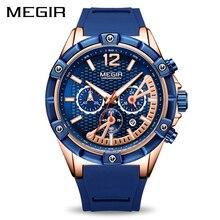 Для мужчин s часы лучший бренд класса люкс Хронограф megir силиконовые спортивные часы время Водонепроницаемый Для мужчин АРМИИ кварцевые наручные часы Для мужчин