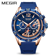 Mens Watches Top Brand Luxury MEGIR Chronograph Silicone Sport Watch Clock Time Waterproof Men's Military Quartz Wrist Watch Men