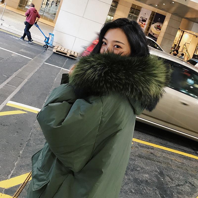 Étudiant Grand army Pain Gray Long 2018 Coréenne Épaisse Survêtement Nouvelle Femmes Coton Veste Fourrure Hiver De Green Manteau Lâche Ins Version Genou Col xU1UTOwpqn