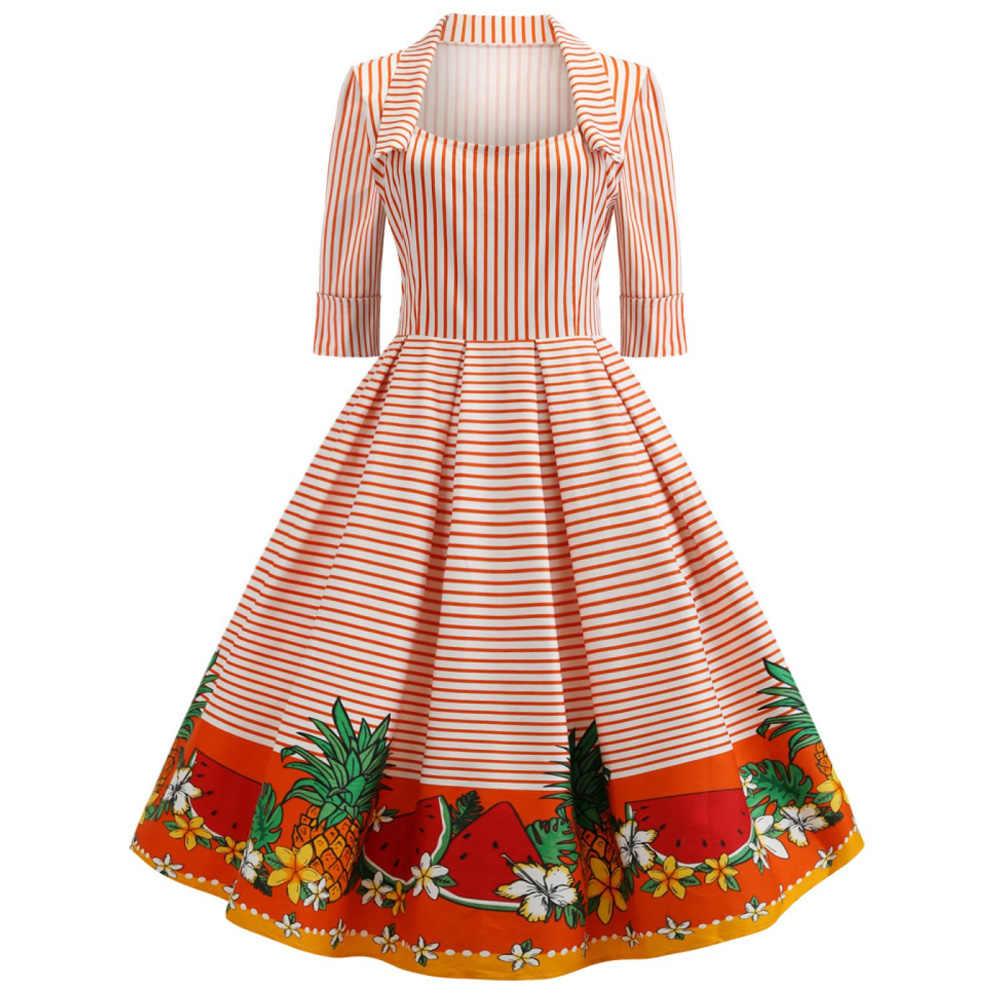 Летнее платье в полоску с фруктовым принтом, женское винтажное платье с принтом ананаса, ретро, женские вечерние платья с квадратным воротником, платье с короткими рукавами