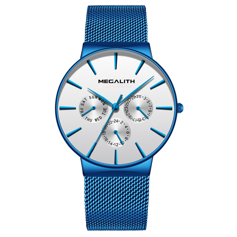 MEGALITH Watch Mens Waterproof Steel Mesh Watches Ultra Thin Date Quartz Wrist Watches For Men Fashion Sport Clock Montre HommeMEGALITH Watch Mens Waterproof Steel Mesh Watches Ultra Thin Date Quartz Wrist Watches For Men Fashion Sport Clock Montre Homme