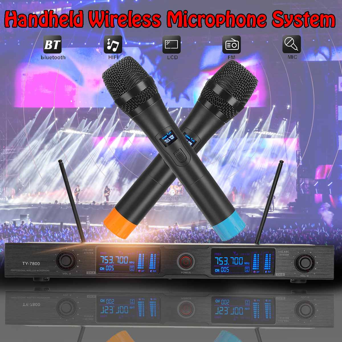 NEW 1 Set Professional 2 Handheld Wireless UHF Wireless Microphone System Cordless Microphones Receiver for Kareoke Home PartyNEW 1 Set Professional 2 Handheld Wireless UHF Wireless Microphone System Cordless Microphones Receiver for Kareoke Home Party