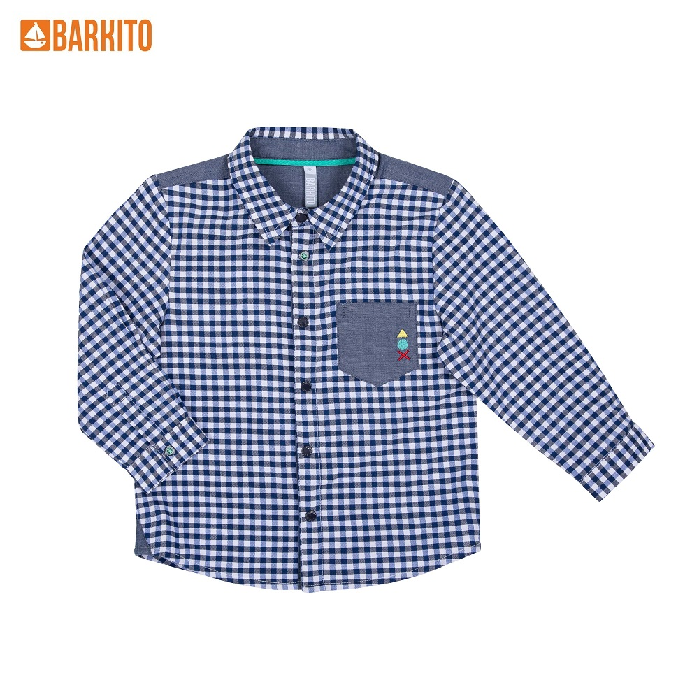 Blouses & Shirts Barkito 341152 children clothing S19B2014W Blue Cotton Boys Casual blue embroidered ruffle sleeves self tie cross front blouses