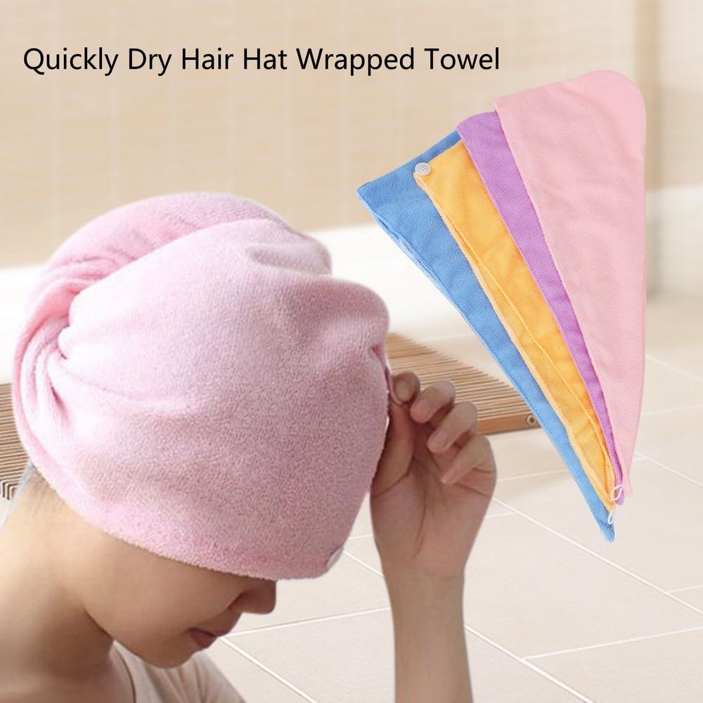 Hair Towel Bath Towel Hair Turban Microfiber Quickly Dry Superfine Fiber Fabrics Solid Bathroom Accessories Wrapped Hair Hat Cap