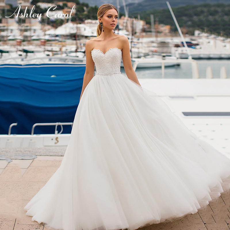 Ashley Carol Simple A-Line Wedding Dress Sweetheart Sleeveless Lace Up Sweep Train Elegant Backless Bridal Gown Vestido De Noiva