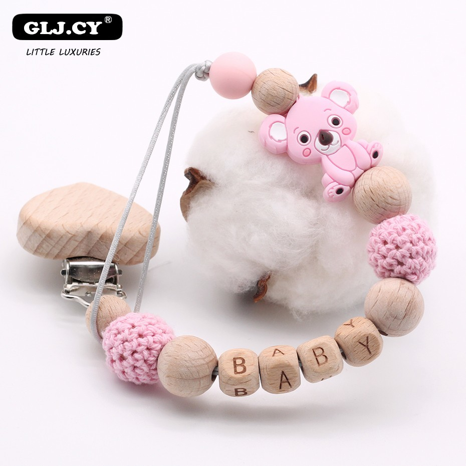 new-diy-wooden-personalized-name-baby-pacifier-clips-clip-cute-mini-cartoon-koala-silicone-bpa-free-pacifier-chain-holder