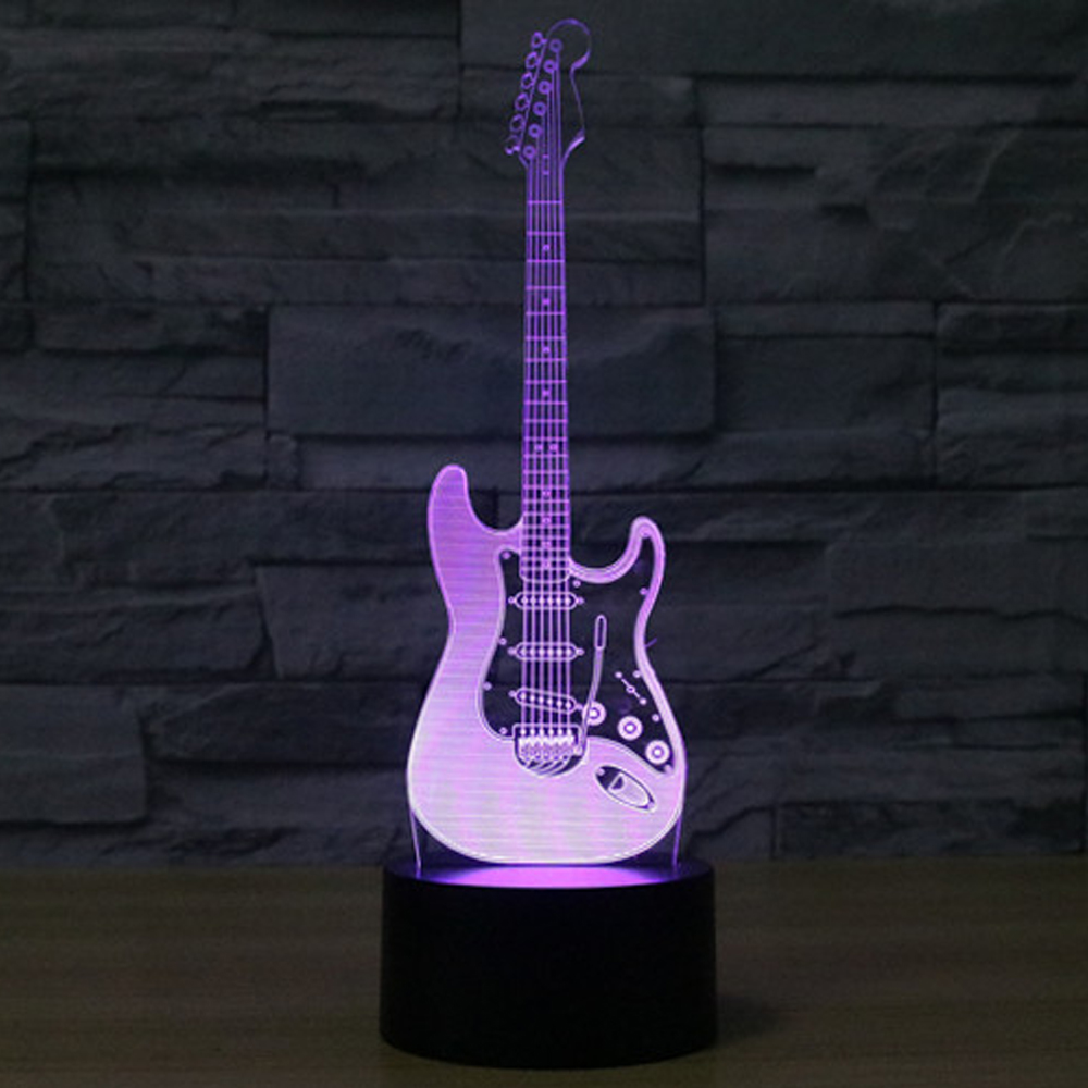 3d led night light electric guitar with 7 colors light for home decoration lamp amazing. Black Bedroom Furniture Sets. Home Design Ideas