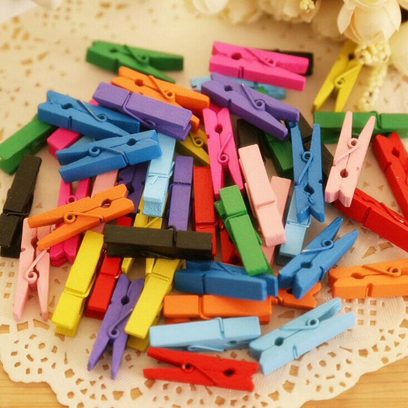Image 2 - 100PCS/1Set 25mm Mini Color Wooden Craft Pegs Clothes Paper Photo Hanging Spring Clips Clothespins-in Clothes Pegs from Home & Garden