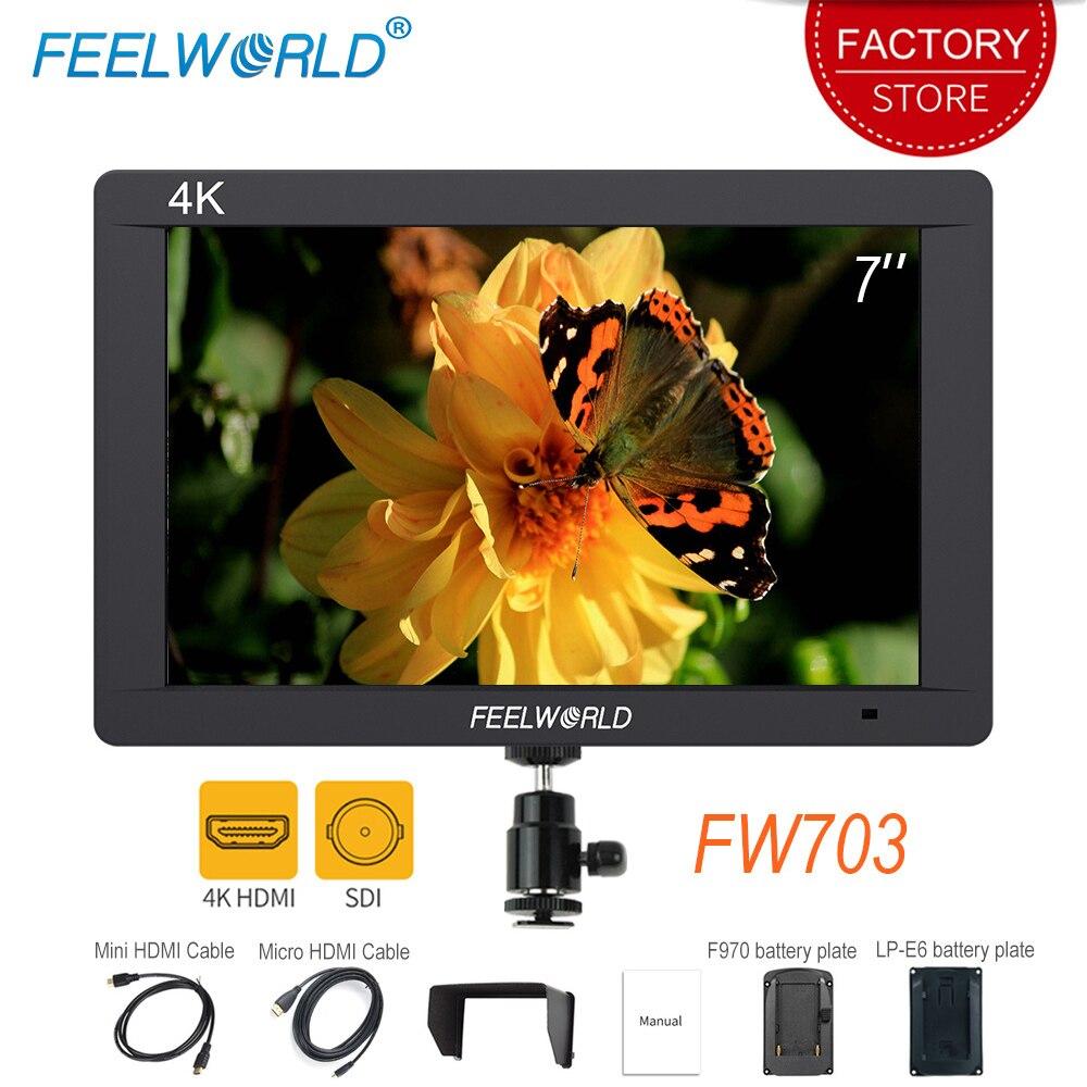 Feelworld FW703 7 inch SDI HDMI Full HD 1920x1200 LCD IPS 4K Camera Field Monitor Portable On Camera DSLR Monitor for Nikon SONY-in Monitor from Consumer Electronics    1