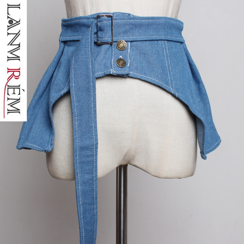 LANMREM Concise All-match Denim Cummerbunds For Women Chalaza Decoration Tide Irregular Clothes Accessories Fashion New YH493