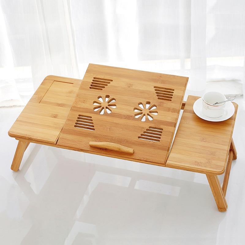 70*35*30 cm bureau d'ordinateur pliable de mode avec le dortoir de ventilateur bureau de salle à manger en bois paresseux table de support d'ordinateur portable réglable en bambou HW14
