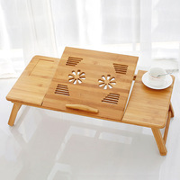 70*35*30cm Fashion Foldable Computer Desk with Fan Dorm lazy wood Dining desk Bamboo Adjustable Laptop Stand table HW14
