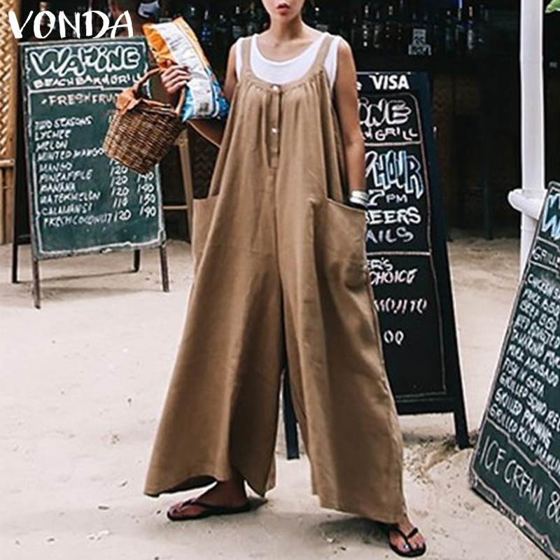 Smeiling Women Casual Sleeveless Baggy Loose Bib Romper Jumpsuits Pants