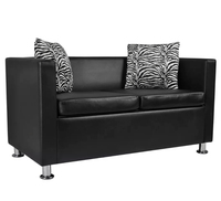 VidaXL Comfortable Modern Sofa 2 Seater Synthetic Leather Black Living Room Sofa Black Sectional Furniture With Cushions
