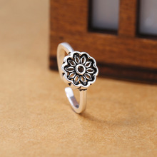 925 sterling sliver vintage plant hollow lotus finger ring Wholesale women accessories luxury brand promise fashion jewelry 2019
