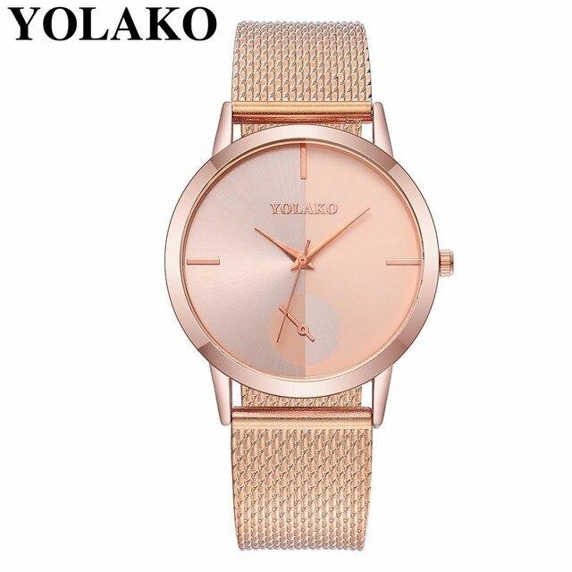 9d4cca3cbb2 YOLAKO Marca Mulheres Moda Quartzo Relógio de Couro Analógico Relógio de Pulso  Relógio Feminino Relogio feminino