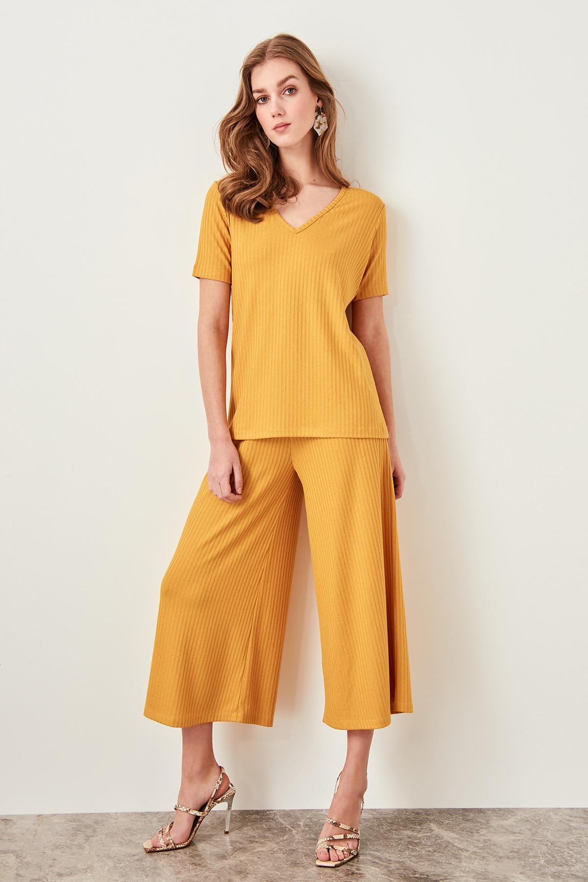 Trendyol Mustard Culotta Knit Pants TWOSS19FV0080