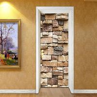 2pcs Waterproof 3D Brick Self adhesive Door Stickers Wall Decal Home Decor