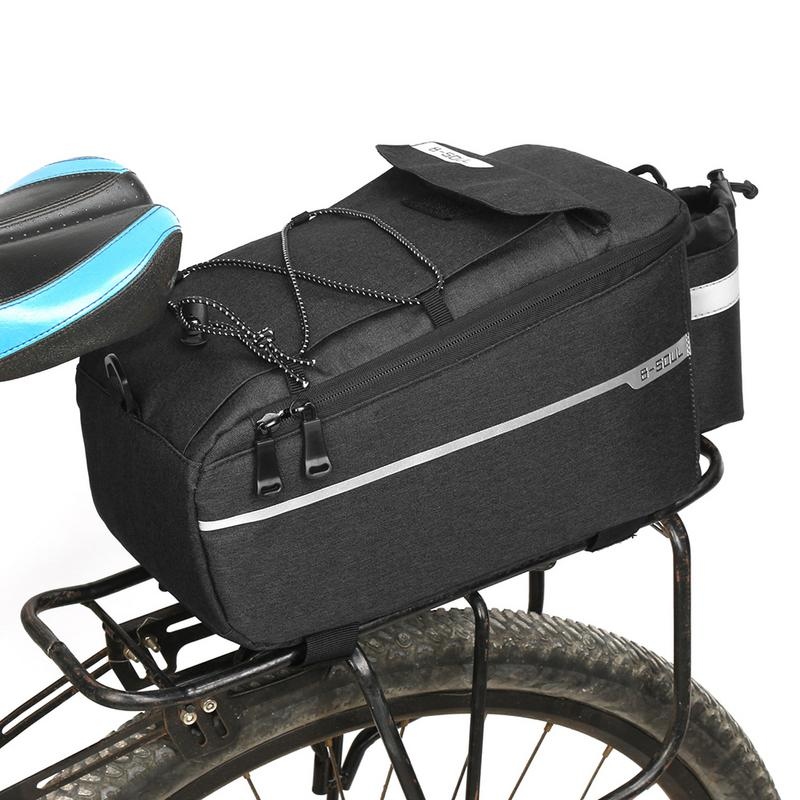Waterproof Cycling Bag Bike Rear Rack Bags Bicycle Shelf Utility Pocket Shoulder Bag Pack Riding Supplies with Reflective Strip