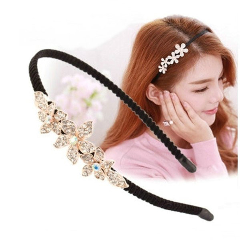 Hot Women Shiny Rhinestone Flower Headband Crystal Hair Hoop Girl   Headwear   Korean Female 1PC Hairband Bezel Hair Accessories