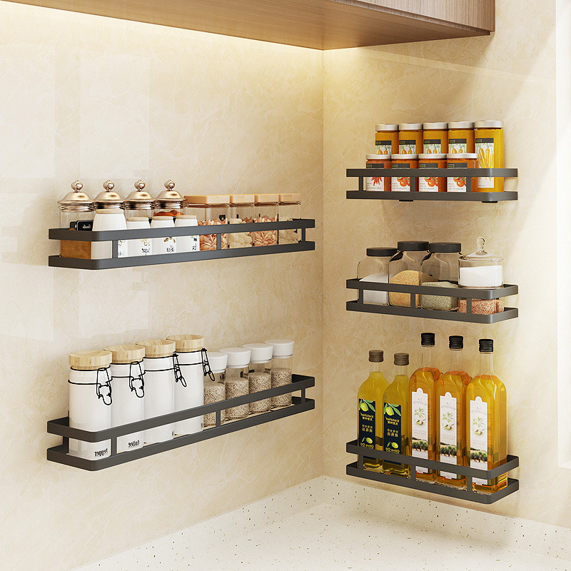 Wall Mounted Storage Holder Stainless Steel Kitchen Seasoning Rack Shelf Bathroom Toiletries Holder Home Organization