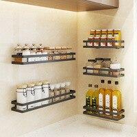 Wall Mounted Storage Holder Stainless Steel Kitchen Seasoning Rack Shelf Bathroom Toiletries Holder Home Organization