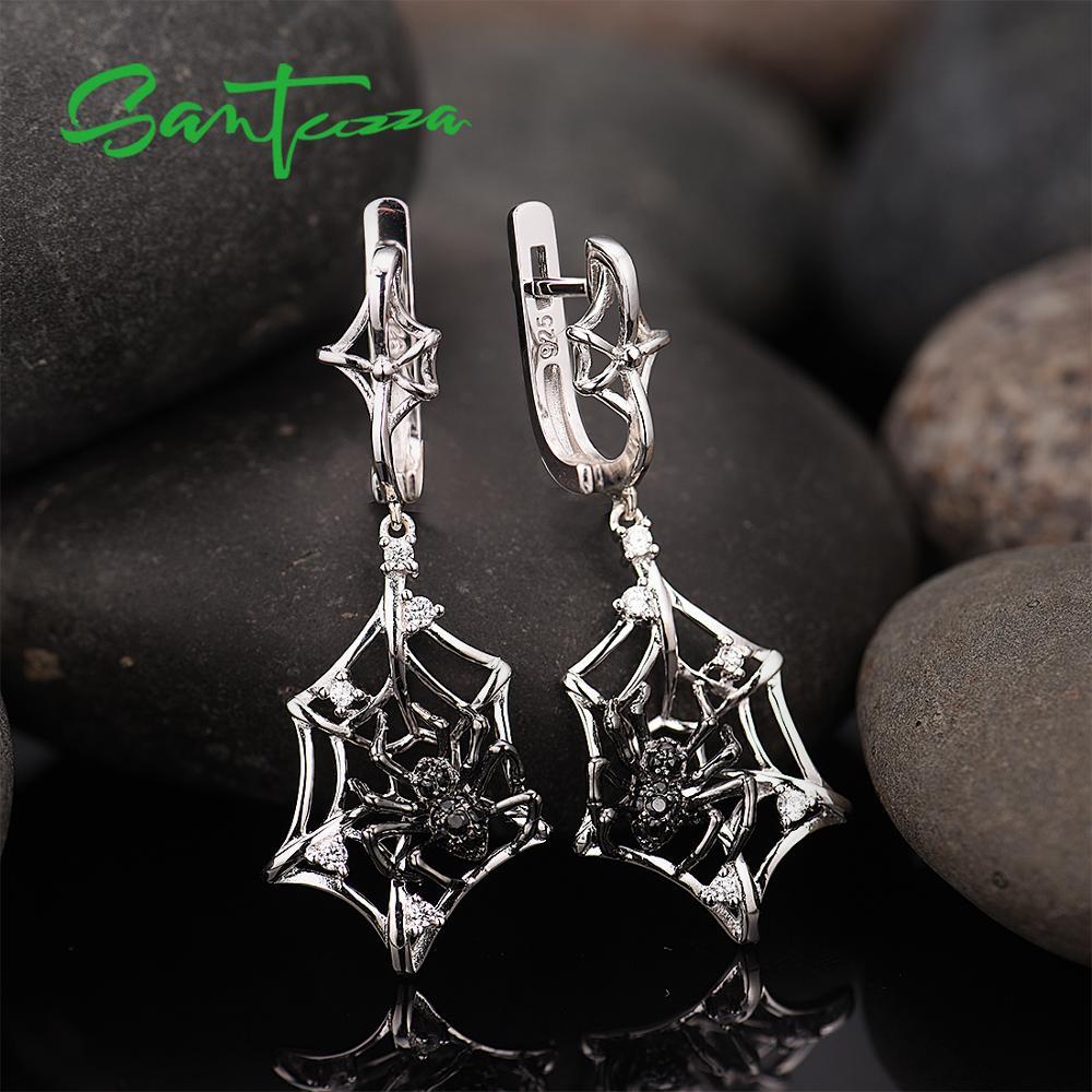Image 5 - SANTUZZA Silver Earrings For Women 925 Sterling Silver Spider Dangle Earrings Sparkling Cubic Zirconia серьги Fashion Jewelry-in Drop Earrings from Jewelry & Accessories
