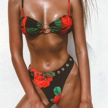 2019  Brazilian Leopard Bikinis Mujer Bathers High Cut Swimsuit Female Swimwear Push Up Thong Bikini Set Sexy Beach Wear