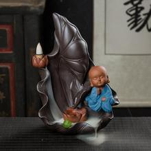 The Little Monk Backflow Incense Burner Smoke Waterfall Holder Lotus Flower Ceramic Censer Home Office Road