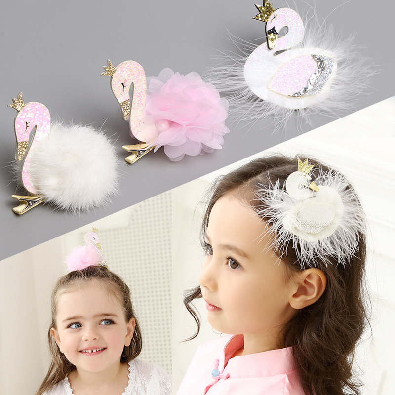 ncmama Hair Accessories Lovely Swan Glitter Hair Clips for Girls Princess Barrettes Handmade Hairgrips Hairpins Kids   Headwear