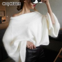 CHICEVER Autumn Winter Knitted Sweater Pullovers Tops Female Slash Neck Flare Sleeve Off Shoulder Sweaters Fashion Tide