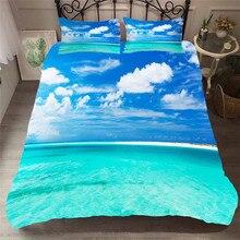 ชุดเครื่องนอน 3D พิมพ์ผ้านวมคลุมเตียงชุด Beach Sea Wave Home สิ่งทอสำหรับผู้ใหญ่ผ้าปูที่นอนกับปลอกหมอน # HL18