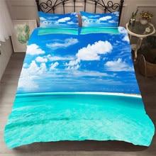 침구 세트 3D 인쇄 이불 커버 침대 세트 비치 바다 웨이브 홈 섬유 성인용 베갯잇 # HL18