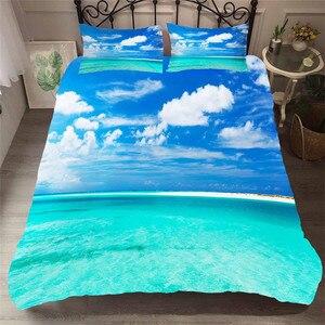 Image 1 - 寝具セット 3D プリント布団カバーベッド大人のためのセットビーチ海波ホームテキスタイル寝具枕 # HL18