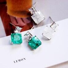 Модные специальные квадратные серьги-капельки с зеленым камнем, двойные квадратные белые циркониевый в виде льда, Женские Ювелирные аксессуары