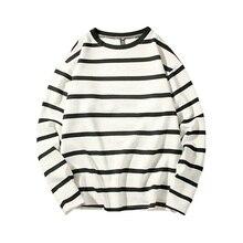 Striped Round Neck Long Sleeve Cotton Men T Shirt 2018 Autumn Winter Classical Male Base T-shirt harajuku tshirt tops M-5XL