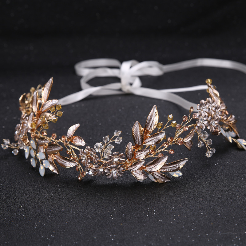 Golden Alloy Headband Hair Jewelry Plant Design Rhinestone Headpiece Wedding Bridal Fashion Headdress Girl Prom Pageant Headwear