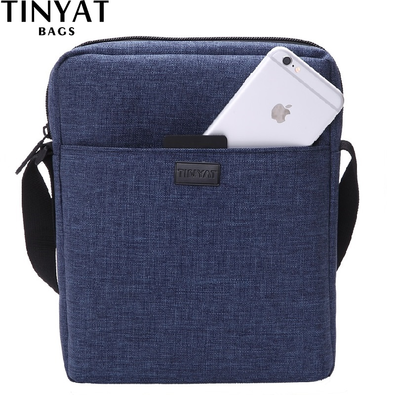 TINYAT Lelaki Beg Beg Bag Baru Bahu Beg Untuk 7.9 'Ipad Kanvas Crossbody Bag Light Waterproof Messenger Bag Casual bag Blue