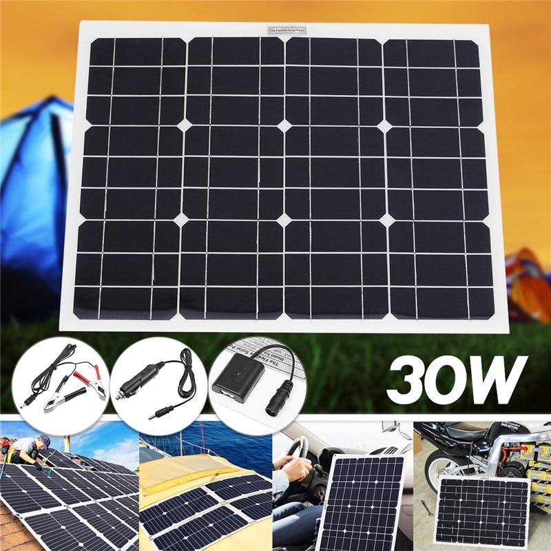 Meilleur prix 30 W 12 V/5 V DC panneau solaire Sunpower batterie USB pour téléphone lumière voiture chargeur étanche maison système solaire
