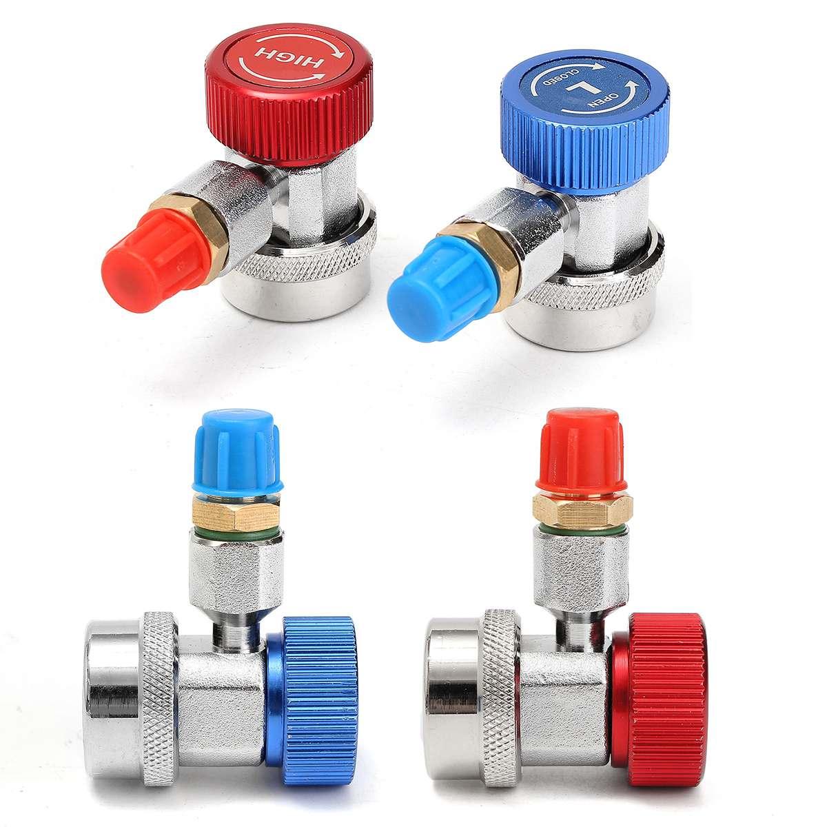 Adaptador de conector de acoplamiento rápido R134A Alto y Bajo tipo AC, colector de calibre automático para adaptador de latón de calibre de colector A/C