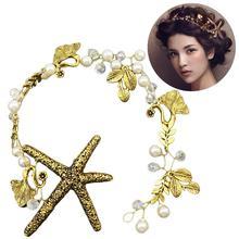 Retro Hair Accessories Bride Pearl Starfish Leaves Headband Bridal Band Artificial Wedding Decor
